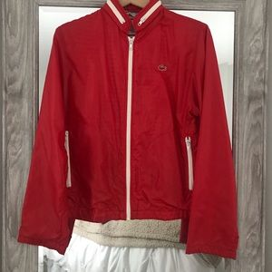 Vintage Izod Lacoste Nylon Jacket Vibrant Red